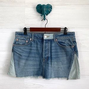 We The Free People Patched Denim Buttonfly Skirt